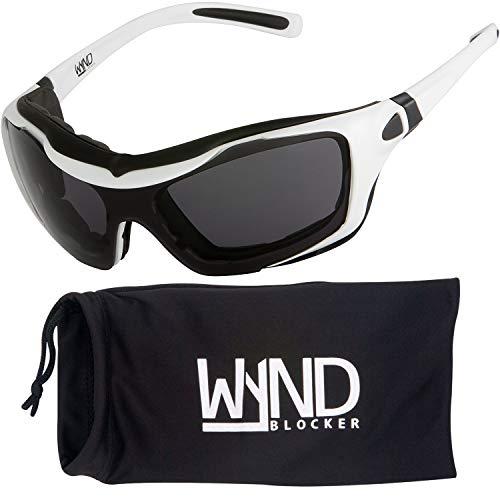 WYND Blocker Large Motorcycle Riding Glasses Extreme Sports Wrap Sunglasses, White, Smoke