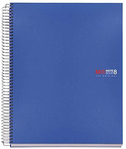 Basicos Mr 42004, Cuaderno A4 con Tapa de Polipropileno, 200 hojas, 5 mm, Azul