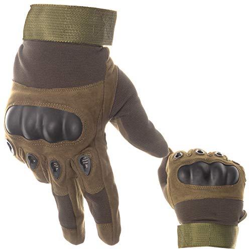 BearCraft Atmungsaktive Motorradhandschuhe | Taktische Handschuhe Vollfinger | Fäustlinge für Sport und Motorrad (Armee grün, L)