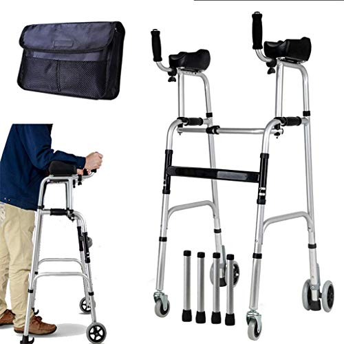 Sntsya Rollator met armleuningkussens, in hoogte verstelbaar, aluminium rollator met inklapbaar licht, loophulp voor oudere mensen