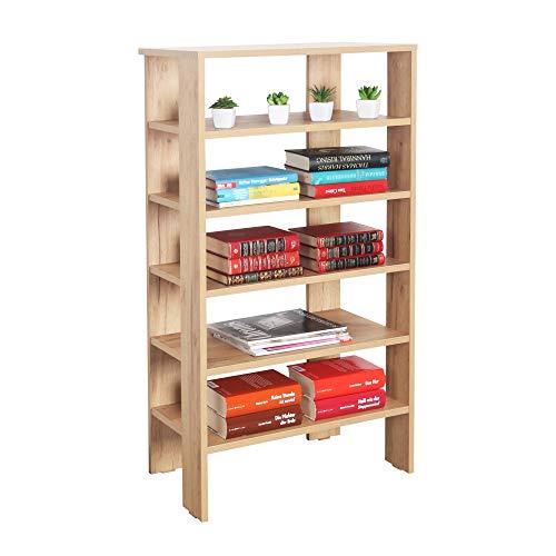 RICOO WM041-EG Estantería 105 x 60 x 32 cm Estante pequeño Librería Moderna Biblioteca Muebles de hogar Mueble almacenaje Madera Color Roble marrón