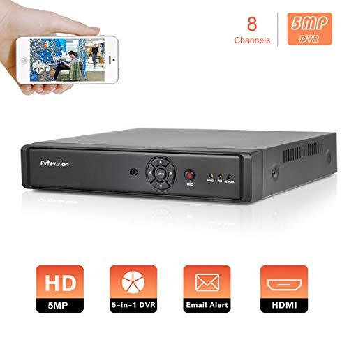 Evtevision 8 Canali 5MP H.265 Videoregistratore Sicurezza AHD/TVI/CVI/960H/IP DVR HVR con uscita HDMI, P2P, USB 3G Wifi, avvisi e-mail con istantanea, accesso remoto Smartphone