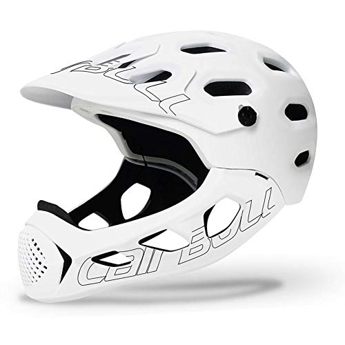 LOO LA Mountain Bike Helmet with Removable protective chin bar Adjustable CPSC Safety Certified MTB Cycling Bicycle Helmets Men Women 19 vents Adjustable 56~62cm,White
