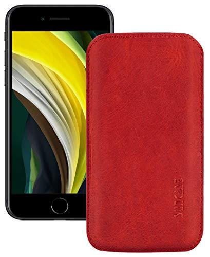 Suncase Original Leder Etui kompatibel mit Apple iPhone SE 2020 Hülle Tasche Ultra Slim Ledertasche Schutzhülle Hülle (mit Rückzuglasche) in antik rot