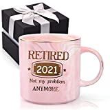 Retirement Gifts for Women 2021 - Retired 2021 Not My Problem Anymore - Funny Retiring Gift Mug for Retired Women Coworker Teacher Nurse Friend Mom Grandma Wife Office & Family Novelty Coffee Cup 12oz