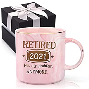 """💝FUNNY RETIREMNET GIFTS: Looking for a beautiful & useful gift for someone on her way on retirement? Now you FOUND it! Funny printed message on the front of mug """"Retired 2021 Not My Problem Anymore"""" usually make her laugh. Give as a nice gift for her..."""
