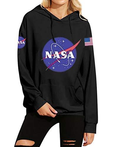 FromNlife Frauen Warm Fleece NASA Print Hoodie Sweatshirt mit Kangaroo Pocket Bluse Shirts (Black, S)