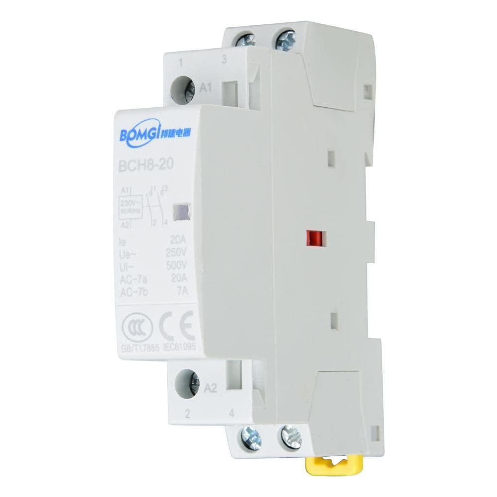Contactor de CA para el hogar con carril DIN, 2P 20A 2NO Contactor de CA para el hogar Montaje en carril DIN 24V 220V/230V 50/60Hz(220V/230V)