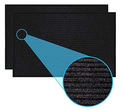 LuxUrux - Felpudo de goma resistente, fácil de limpiar, resistente al agua, de bajo perfil para entrada, patio, cochera, camino de entrada alto tráfico (17' x 30', 2 unidades), color negro