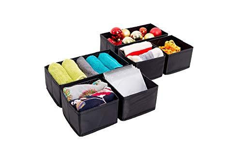 malin-system - Aufbewahrungsbox 6er-Set – Premium Stoffbox für Wäsche Schmuck Kosmetik und vieles mehr – Faltbox