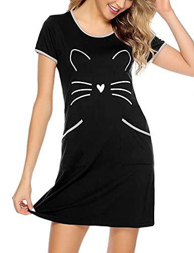 Sykooria Camisón Mujer Algodon Verano Corto Camisa de Dormir Camisón de PijamaRopa de Dormir Suave