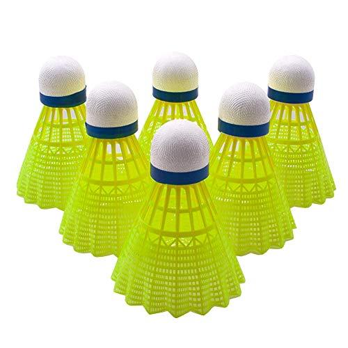 Senston Badminton Federball Nylon 6 Stück Federbälle, Badminton Bälle, Premium-Nylonfederball für Indoor & Outdoor