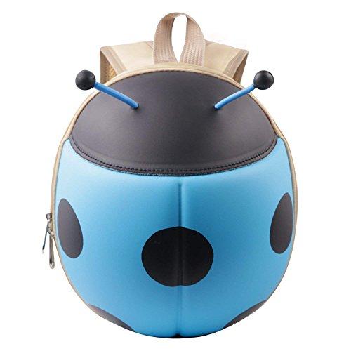 NORSENS Kindergartenrucksack Kindergartentasche für Jungen und Mädchen Cartoon Marienkäfer Mini Baby Kleinkinderrucksäcke (Blau)