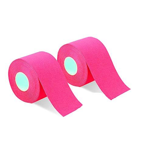 2巻入 テーピングテープ キネシオ テープ 筋肉・関節をサポート 伸縮性強い 汗に強い パフォーマンスを高める 5cm x 5m (ピンク)
