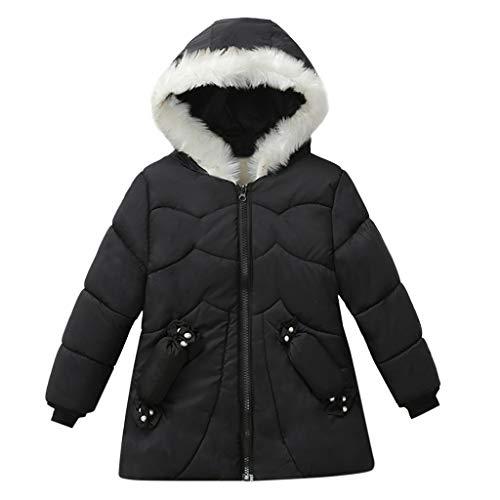 Livoral Kinder Winter MantelMode Jacke Kinder Winterjacke Jacke Junge Jacke warme Kapuze Kinderkleidung(Schwarz,110)