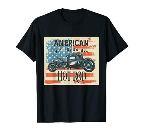 Hot Rod Art American Vintage Racers Rockabilly Old School Camiseta