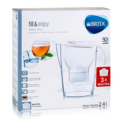 BRITA Marella Water Filter Starter Pack with 3 MAXTRA+ Cartridges, Water Filter that Helps with the Reduction of Limescale and Chlorine, White MAXTRA 6 pack water filters