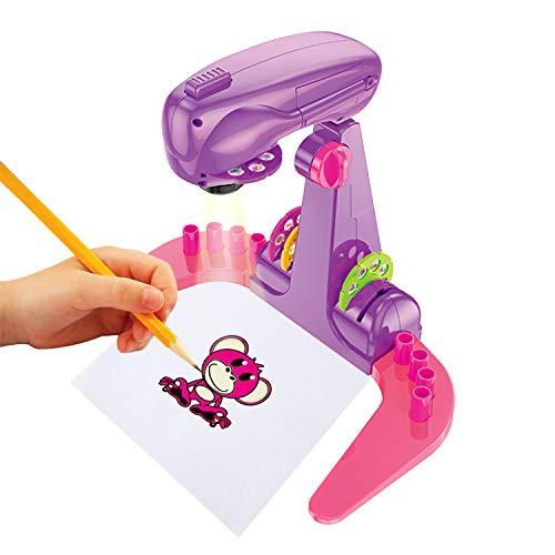 Infantil de Dibujo del Proyector Juguetes Dibujo Proyectores Juguetes Electrónicos de 18 Actividades y Accesorios, Juguete para Ayudar A Los Niños A Dibujar Diversión Educativa (Purple)