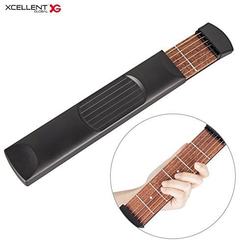 Xcellent Global Manico di chitarra portatile con corde e tasti per esercizi accordi e scale HG225