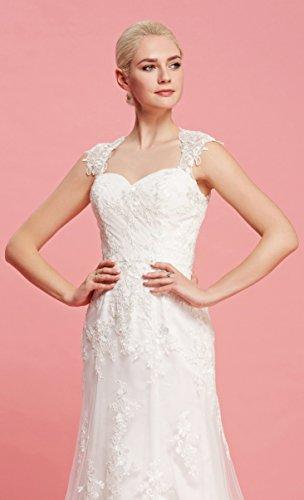 Brautkleid mit herzförmigen Ausschnitt und Träger aus transparentem Stoff und Spitze - 6