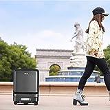 DJLOOKK Maleta eléctrica, Control Remoto Bluetooth, Diseño de iluminación LED de Colores, Maleta USB Inteligente Automática Seguir Caja de Equipaje para niños Caja Maleta de Viaje Trolley Carry,Negro