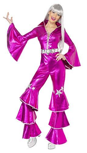 Smiffys 1970s Dancing Dream Costume Disfraz de baile de los años 70, color rosa, L-UK Size 16-18 (38520L)