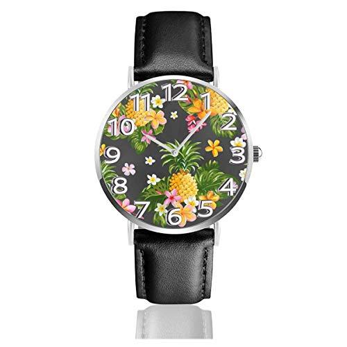 Reloj de Pulsera Piñas Flores Tropicales Correa de Cuero sintético Duradero Relojes de Negocios de Cuarzo Reloj de Pulsera Informal Unisex
