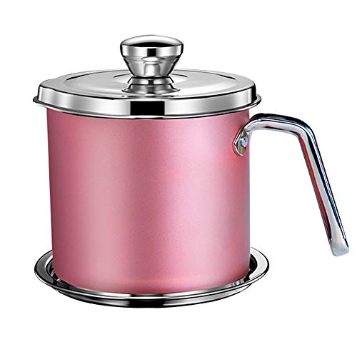 YCZM Stainless Steel Oil Storage Can Container with Fine Mesh Strainer Dustproof Lid Non-Slip Plate Suitable for Storing Frying Oil and Cooking Grease,Pink,1.9 liters