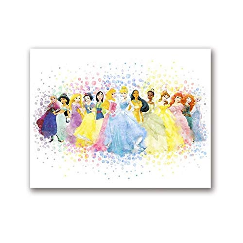 Princesa Acuarela Poster Nursery Wall Art Print, All Princess Party Canvas Painting Picture Baby Girls Room Wall Art Decor 40X60CM SIN marco
