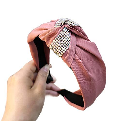 Gwxevce Femmes Bijoux Twist Noeud Cheveux Cerceau Brillant Coloré Strass Collier Large Bandana Rose