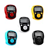 CG LED Finger Tally Counter, 5-Pack Digital Electronic Tasbeeh Counters, Lap Track Handheld Clicker with Ring, Re-settable Digits Display for People Muslims, by Black White Red Orange Blue Five colors