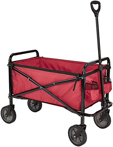 AmazonBasics Garden Tool Collection - Collapsible Folding Outdoor Garden Utility Wagon with Cover Bag, Red