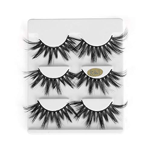 3 Paare 25mm 3D Mink falsche Wimpern Haar Dramatische Schönheit Make-up Lange Wispy Fluffy Lashes Gefälschte Lashes-Verlängerungs-Werkzeuge (K301, K301)