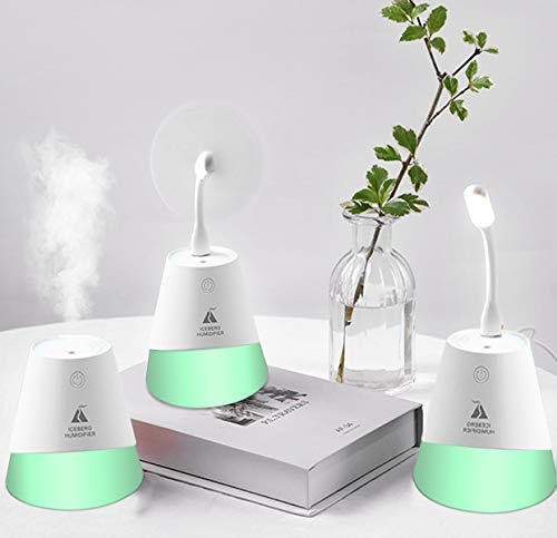 FETESNICE Mini Humidifier, 3-in-1 Desk Humidifier with USB Lamp and Fan, 7 Colors Night Light, Waterless Auto Shut-Off, Portable Humidifier for Home Bedroom Office Car Plant Travel 230ML