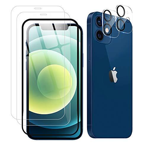 2+2 セットiPhone 12 ガラスフィルム+iPhone 12 カメラフィルム ガイド枠付き 日本旭硝子製 強化ガラス 硬度9H 露出オーバー防止 飛散防止 99%高透過率 気泡防止 指紋防止 iPhone 12 液晶保護フィルム+レンズカバー(6.1インチ)