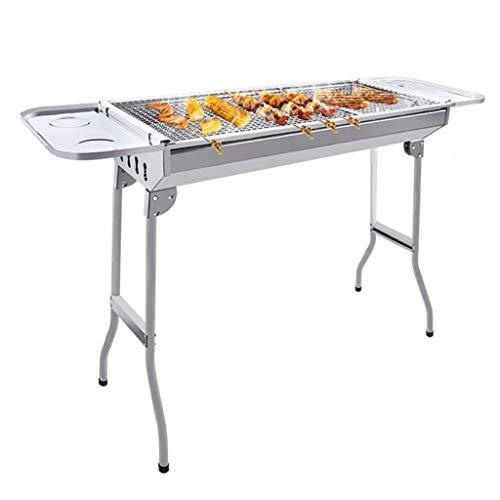 41eyNFijMVL - Barbecue Holzkohlegrill Edelstahlgrill Heimgrill Grillzubehör Für Den Außenbereich Geeignet Für 5-8 Personen (Color : Silver, Size : 73 * 32.5 * 70cm)