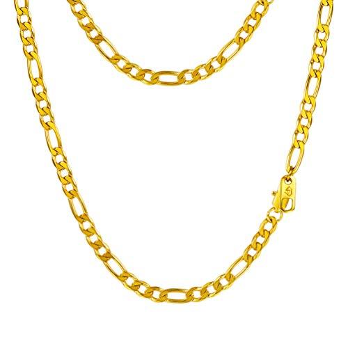 """PROSTEEL Chaîne Homme Plaqué Or Link Chain Maille Figaro 1+3 Bijoux Simple Largeur 4mm (Doré; 18""""/46cm)"""