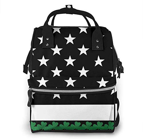 Irish American Flag Shamrock Diaper Bags Fashion Mummy Backpack Multi Functions Large Capacity Nappy Bag Nursing Bag for Baby Care for Traveling