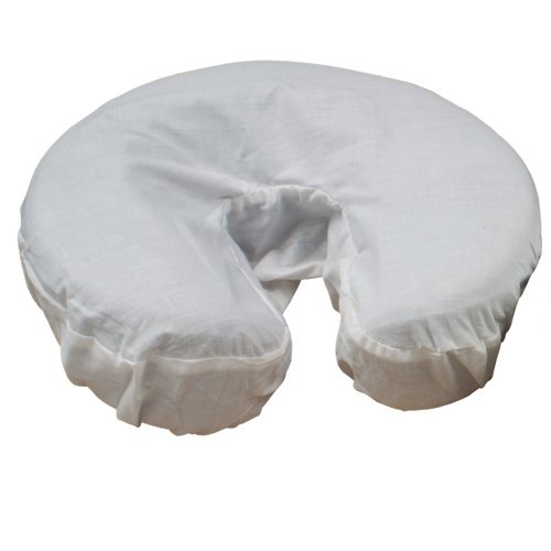 Body Linen Simplicity Poly Cotton Massage Face Cradle Covers (White, 10 Pack) - Clean, Crisp Fabric for Frequent Use and Washing, Colorfast and Latex-Free, Fits All Standard Massage Tables