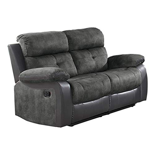 Homelegance Manual Double Reclining Love Seat, 60'W, Gray Two-Tone