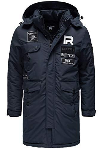 Redbridge Herren Winterjacke Parka Mantel RB Patches mit Kapuze Navy Blau XL