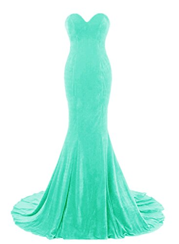 APXPF Women's Sweetheart Mermaid Velvet Fromal Prom Dress Evening Gown with Long Trail Tiffany Blue US16