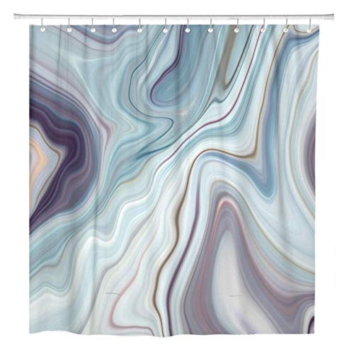 JOOCAR Design Duschvorhang, blauer Granit Marmor Weiß Grau Muster Abstrakt Braun Schwarz Wasserdicht Stoff Badezimmer Dekor Set mit Haken