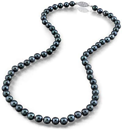 THE PEARL SOURCE 14K Gold 5 5 6 0mm Round Genuine Black Japanese Akoya Saltwater Cultured Pearl product image