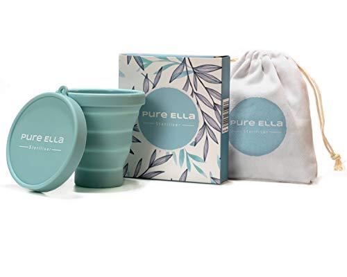 Pure Ella Esterilizador de Copas Menstruales - Vaso Limpiador de Silicona Apto para Microondas, Plegable Y Libre de BPA - para Todo Tipo de Copas