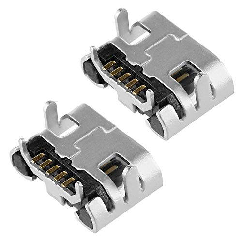 OcioDual 2 Conectores Micro USB B Hembra de 5 Pines Recambio Reemplazo Repuesto Conector Listo para Soldar SMD Raspberry PiC DIY