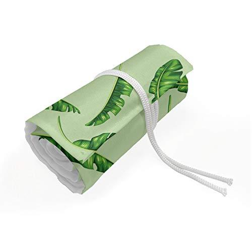 ABAKUHAUS Bananenblad Etui met Rolomslag voor Pennen, ecologie Planten, Duurzame & Draagbare Potloodetui, 72 Vakjes, Green Pistache groen