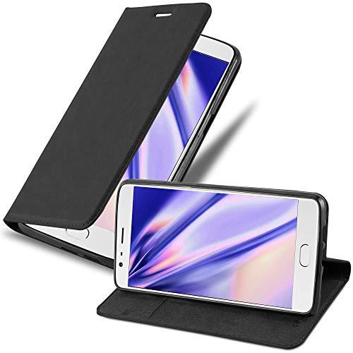 Cadorabo Hülle für OnePlus 3 / 3T in Nacht SCHWARZ - Handyhülle mit Magnetverschluss, Standfunktion & Kartenfach - Hülle Cover Schutzhülle Etui Tasche Book Klapp Style