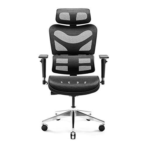 Diablo V-Commander Ergonomischer Bürostuhl Schreibtischstuhl Chefsessel 3D Armlehnen Lendenwirbelstütze Verstellbare Kopfstütze & Sitzfläche Netzstoff Belastbarkeit Bis 200 KG (schwarz-grau)