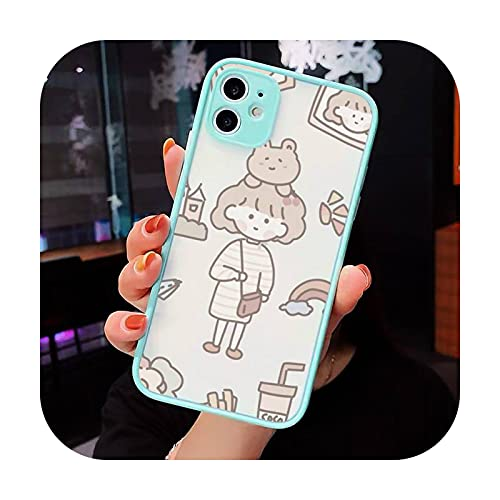 Lindo anime chica aperitivos Teléfono Carcasas Mate transparente para iPhone 12 Mini 11 Pro XR XS Max 7 8 Plus X contraporta-a5-iPhone12pro